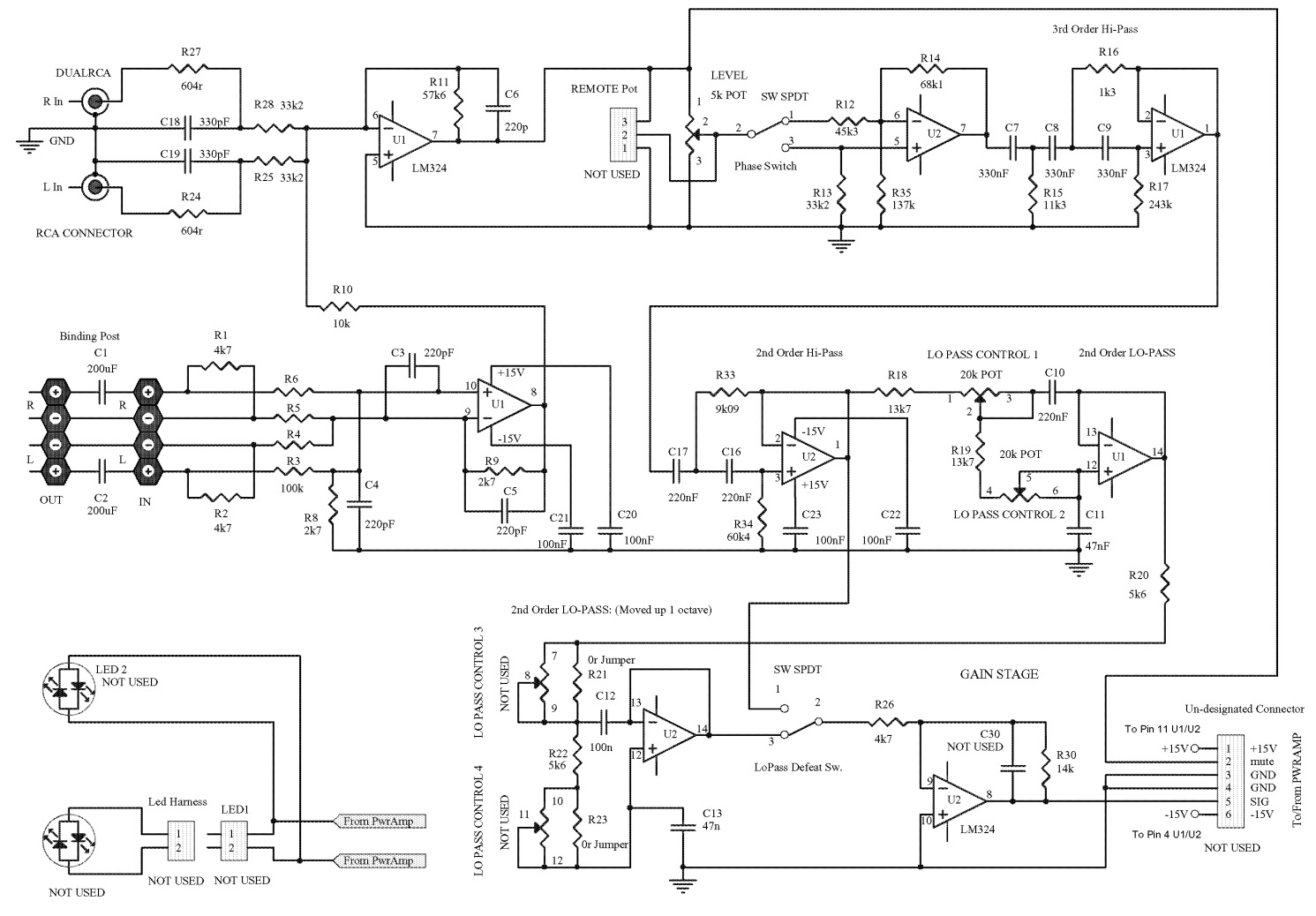 circuit diagram [schematic]  if you used the high-level (speaker) inputs  and there is no sound from any of the speakers: