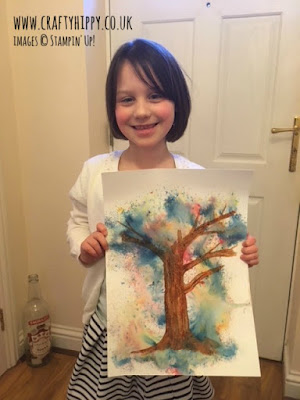 Brusho Crystal Colour, Stampin' Up! Have a go at creating this gorgeous Tree Project. Full details.