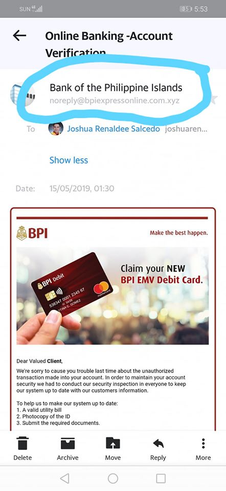 Guy loses Php26k scam BPI account