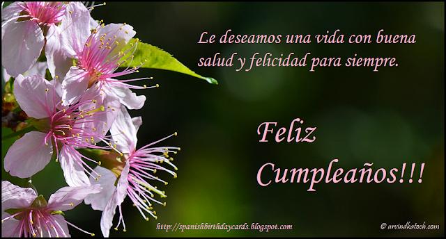 Tarjeta, cumpleaños, flores, cerezo, felicidad, siempre,