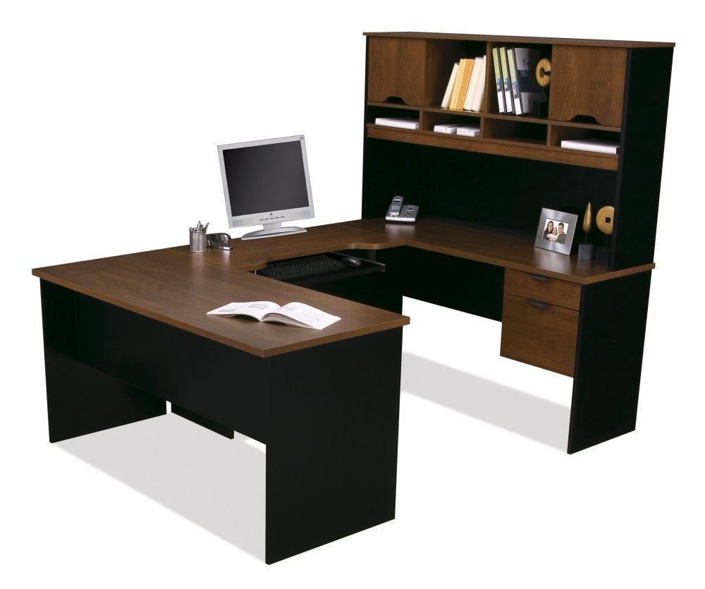 White & Black L-Shaped Computer Desks with Hutch
