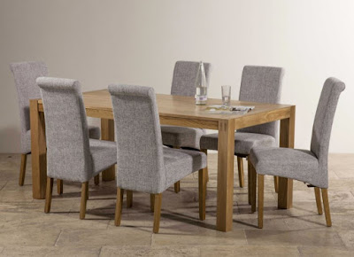 Wooden rectangle dining table with gray dining chairs