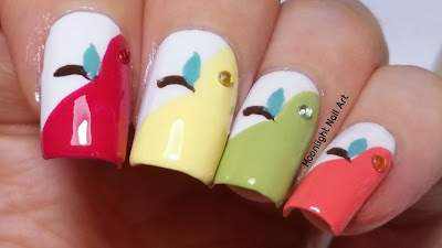 apple nail art easy back to school nail design / step