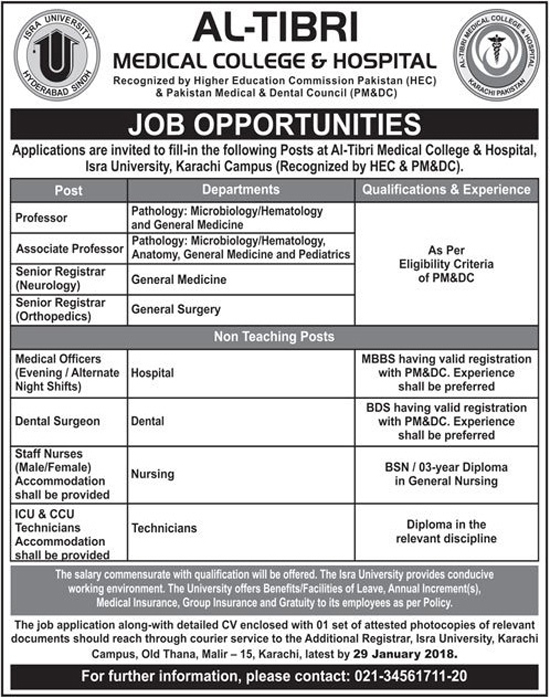 AL Tibri Medical College And Hospital jobs 2018