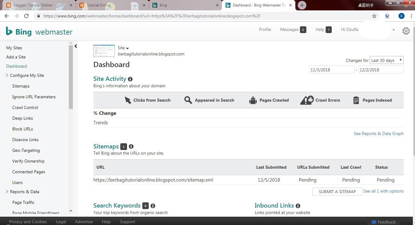 register a Blog to Bing Webmastertools
