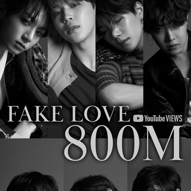 BTS Fake Love Youtube 800m Views