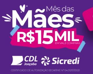 Cadastrar Promoção CDL Joaçaba Dia das Mães 2021