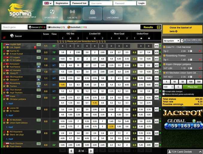 Sporwin Live Betting Screen