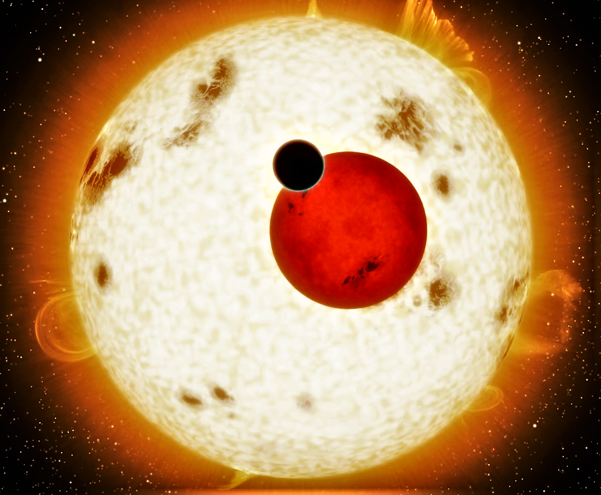 Image of the star and a red dwarf with an new exoplanet.