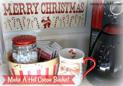 hot chocolate basket, Christmas coffee station