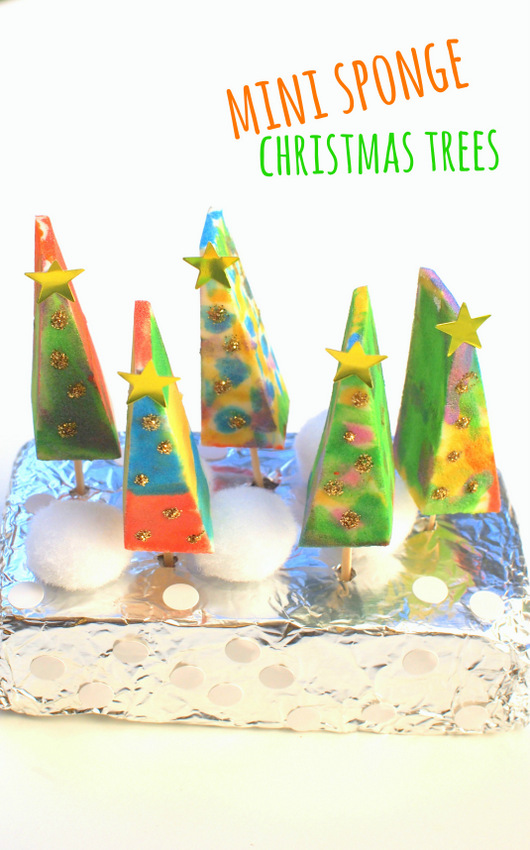 Mini Sponge Christmas Trees- Easy Christmas craft for kids of all ages