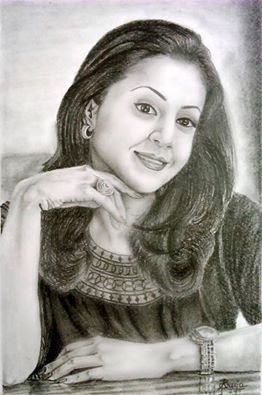 Pencil art of South Indian actress Jyothika by Sreeja Renganath.