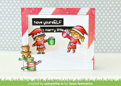 Have YoursELF a Merry Little Christmas Card by Samantha Mann for Lawn Fawnatics, Christmas, Cards, Interactive, Die Cuts, Distress Inks, Ink Blending, Lawn Fawn #lawnafawn #diecuts #interactivecard #cards #distressinks #christmas