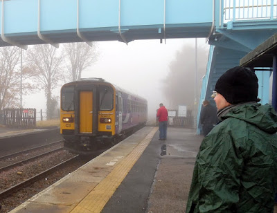 PICTURED: Passengers at Brigg station waiting to board the first Saturday morning train towards Grimsby and Cleethorpes prior to suspension of this service.