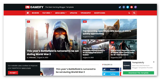 Gameify - Gaming Blogger Template