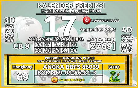 Kalender Prediksi HK Jumat 17 September 2021