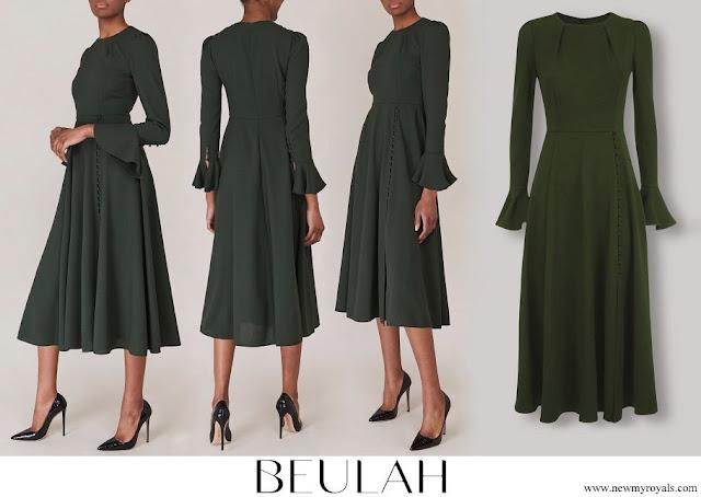 Crown Princess Mary wore Beulah London Yahvi Olive Green Midi Dress