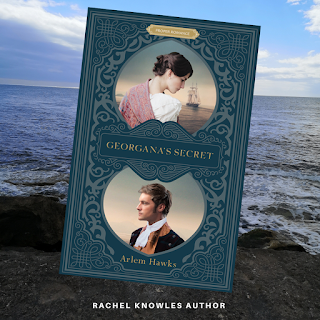 Front cover of Georgana's Secret by Arlem Hawks over background of the sea