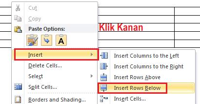 Cara Menambah atau Menghapus Kolom dan baris Di Tabel Office Word 2010