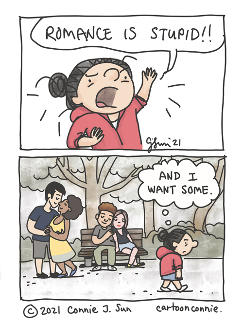 """Two-panel comic illustration of a girl declaring that """"Romance is stupid"""" and thinking """"and I want some,"""" walking passed lovey-dovey couples in the background. Sketchbook comic by Connie Sun, cartoonconnie"""