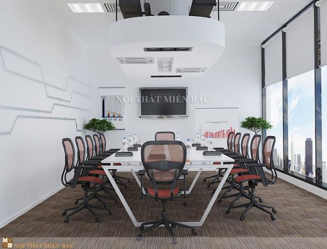 Chiếc bàn làm việc văn phòng màu trắng tinh khôi luôn mang đến cho không gian phòng họp sự sang trọng và cuốn hú