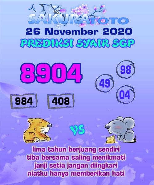 Syair Sakuratoto SGP Kamis 26 November 2020