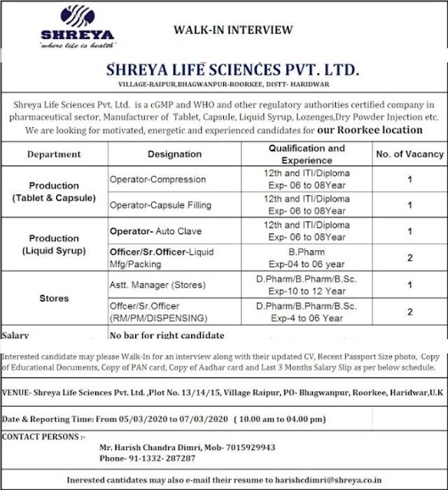 SHREYA LIFE SCIENCES PVT. LTD. Walk-In Interview 12th and ITI / Diploma, D Pharm, B Pharm, B Sc