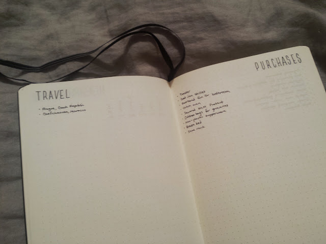 2017 Bullet Journal Travel List and Purchases List