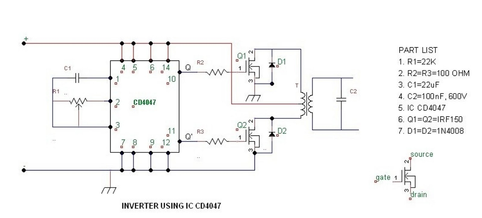 100 W Inverter Circuit Diagram Wiring Library Ruud Furnace 90 21283 Wich Can Use Ic 4047 In How To Build A100 Watt Pure Sine Wave