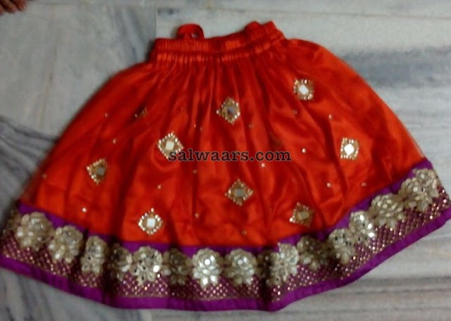 Red and Purple Kids Mirror Lehenga