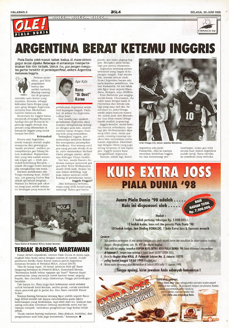 PIALA DUNIA 1998 ARGENTINA VS INGGRIS