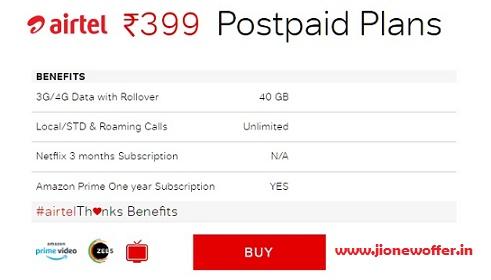 airtel 399 plan postpaid