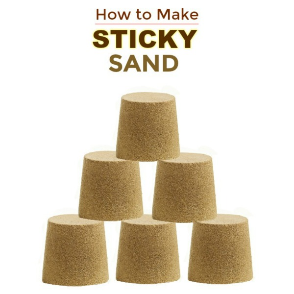 STICKY SAND: a less messy alternative to traditional play sand, and you can make it at home! #sandboxideas #homemadesand #playrecipesforkids #playrecipe #stickysand