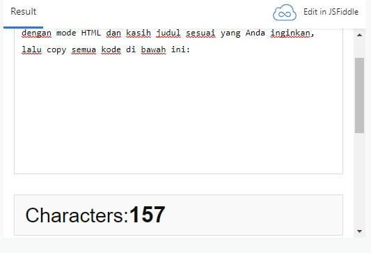 Membuat Tools Penghitung Jumlah Karakter Kata Pada Postingan di Blogger