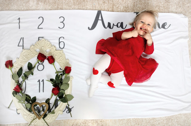 ava jane baby girl spring month to month monthly milestone blanket pregnancy ideas 11 months old child model flower crown valentines february roses marker red tutu