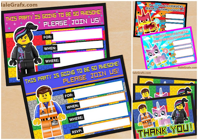 Lego Movie: Free Printable Party Invitations and Thank You Cards.