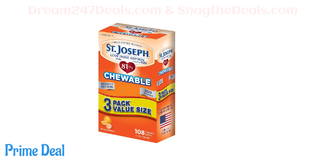 St. Joseph Aspirin Pain Reliever, Chewable Orange Flavored, Low Dose, 108 Count