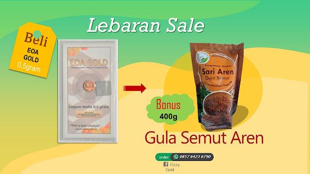 Emas EOA 0,5 gram Bonus Gula Semut Aren 400 Gram