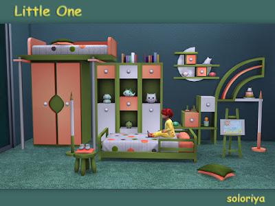 Little One Малышок для The Sims 4 Набор для малышей. Имеет 4 цветовых вариации, включает 14 функциональных и декоративных элементов. Предметы в наборе: - кровать для малышей - 3 стеллажа - 2 полки - комод - журнальный столик - большой декоративный карандаш - 2 декоративные игрушки - пол подушки - декоративные детские ботинки на подушке - декоративный мольберт Автор: soloriya