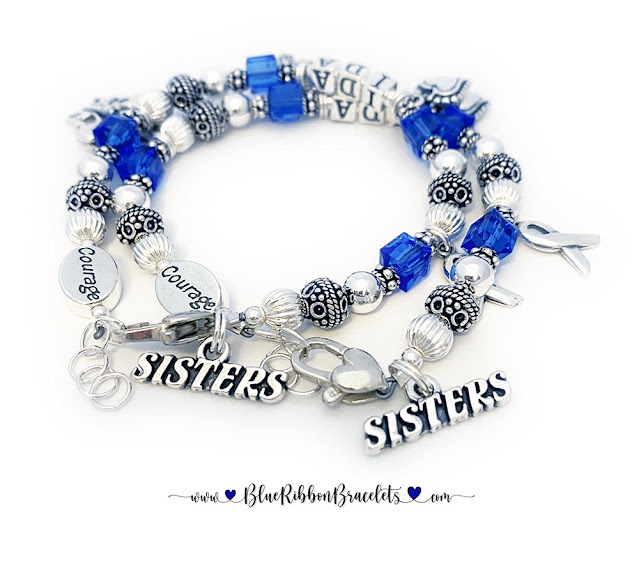 Sisters Colon Cancer Courage Matching Bracelets with Charms