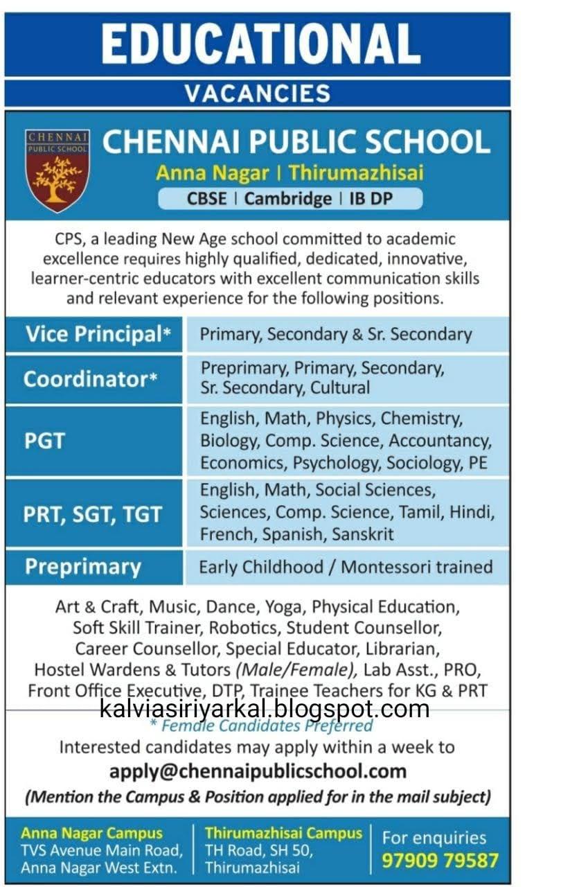 WANTED PRINCIPAL, PG,UG(BT-ASST),SGT,PRT & COORDINATORS: