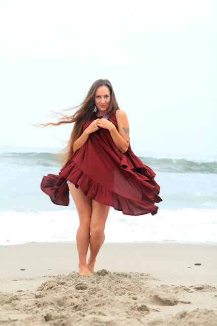 Beach Cover Up Poncho with Ruffles by Mademoiselle Mermaid