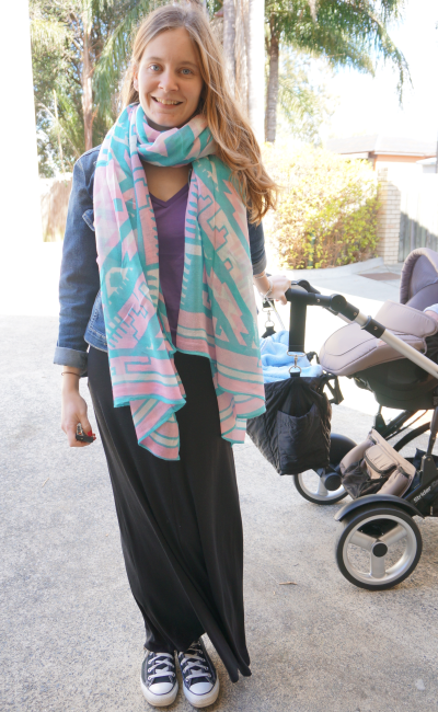 blanket scarf denim jacket maxi skirt pastels blue and purple new mum outfit