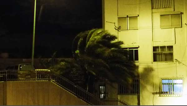 Ráfagas de muy fuerte viento en Gran Canaria, noche 28 febrero