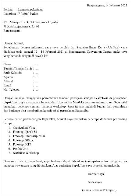 Contoh Surat Lamaran Kerja Untuk Sekretaris (Fresh Graduate)