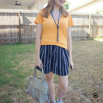 orange tee and navy striped culotte summer outfit |awayfromblue Insta