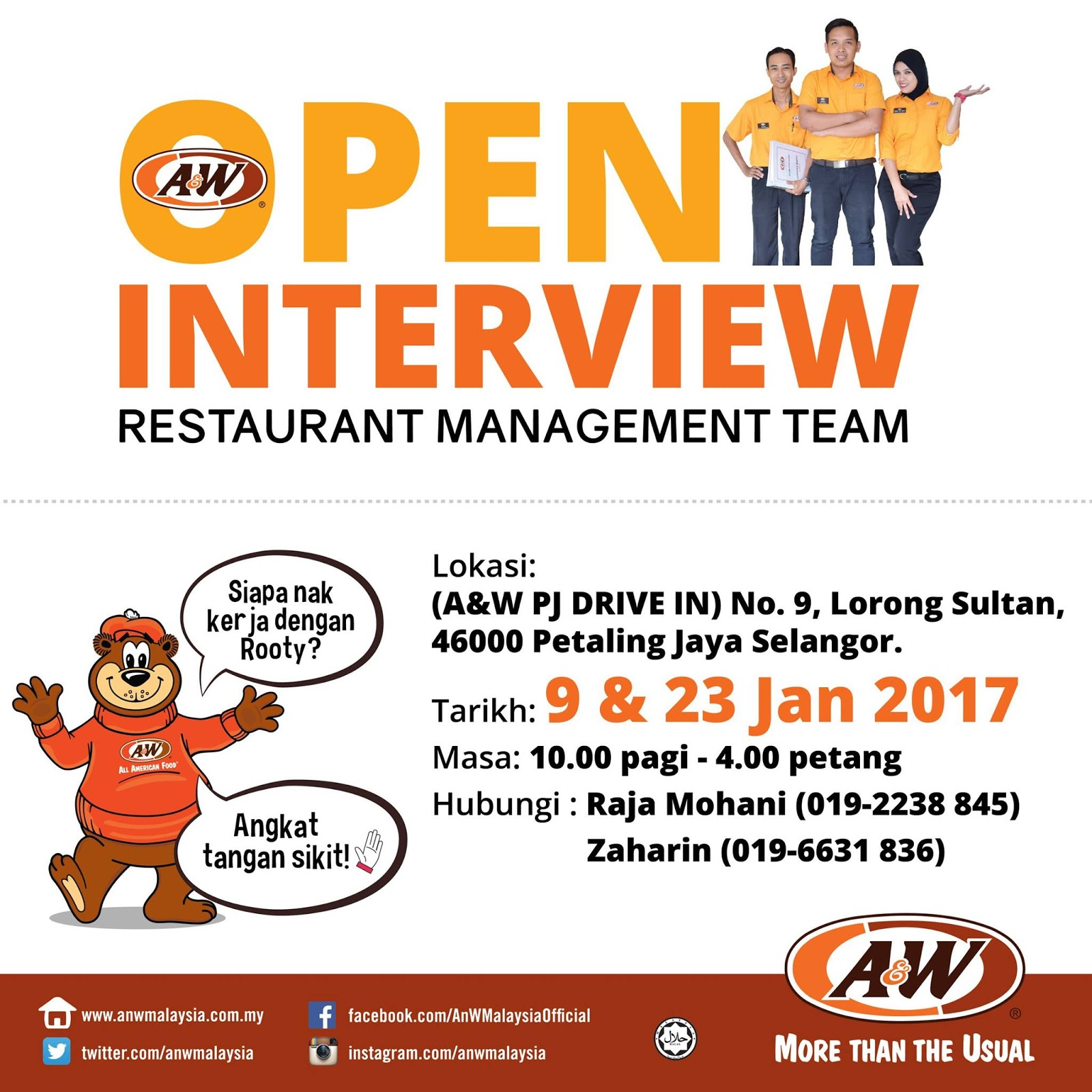 a&w restaurant pj drive in open interview for management team 10am