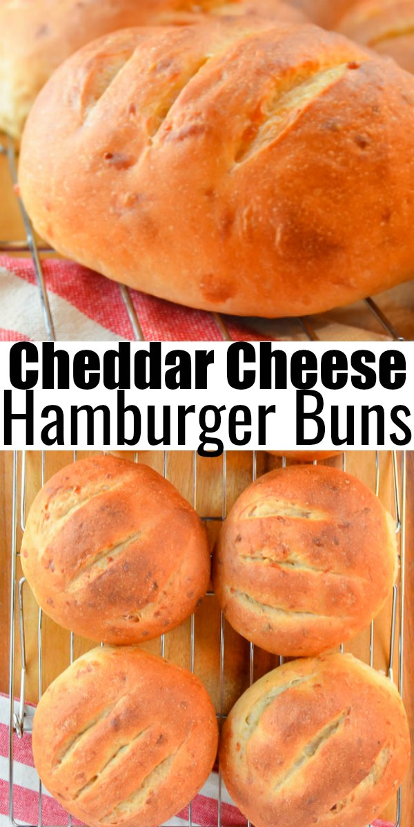 Crusty chewy Cheddar Cheese Hamburger Buns are so delicious for your next burger from Serena Bakes Simply From Scratch.