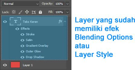 Layer dengan efek Blending Options atau Layer Style