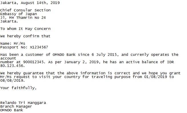 Surat Sponsor dari Bank